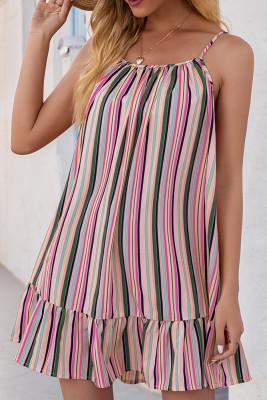 Rose Red Stripe Print  Slip Dress