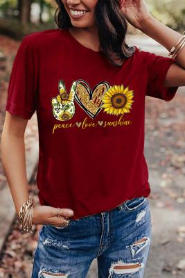 Wine Red Sunflower Printed Graphic Tee