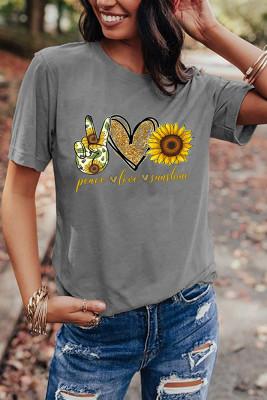 Gray Sunflower Printed Graphic Tee