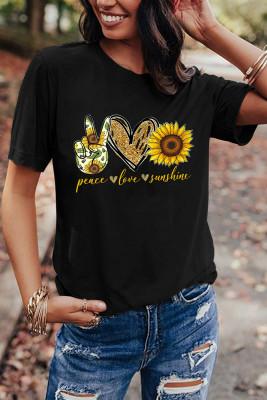 Black Sunflower Printed Graphic Tee