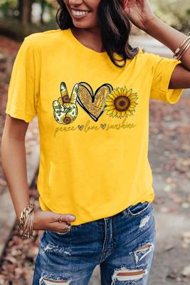 Yellow Sunflower Printed Graphic Tee