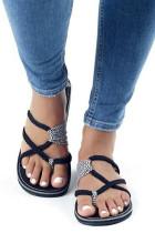 White Straps Flat Slippers