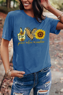 Blue Sunflower Printed Graphic Tee