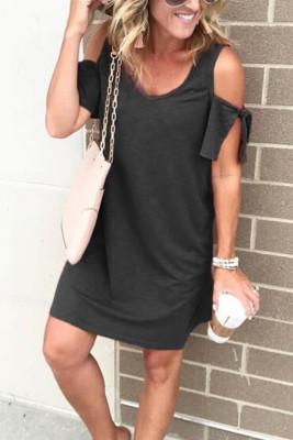 Black V-neck Cold Shoulder Loose Dress