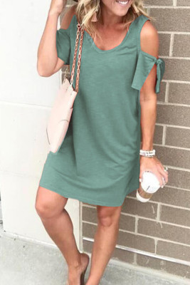 Green V-neck Cold Shoulder Loose Dress