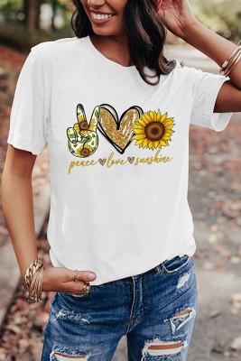 White Sunflower Printed Graphic Tee