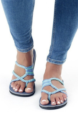 Blue Straps Flat Slippers