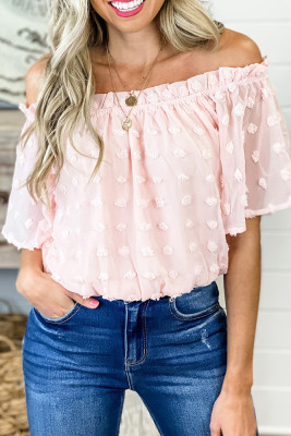 Polka Dot Off Shoulder  Half Sleeves Blouse