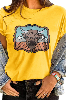 Yellow Cartoon Printed Graphic Tee