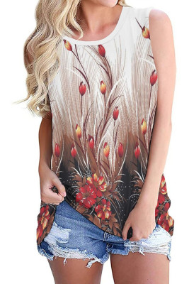 Red Flowers Print  O-neck Tank Top