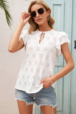 Crochet Lace Up O-Neck Lotus Short Sleeve Shirt Top