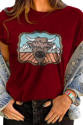 Wine Red Cartoon Printed Graphic Tee