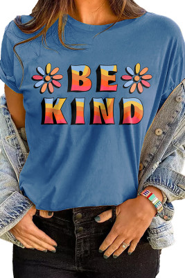 Blue BE KIND Printed Graphic Tee