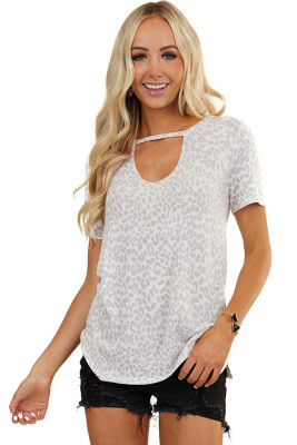 Gray Leopard Print Hollow-out Neck Tee
