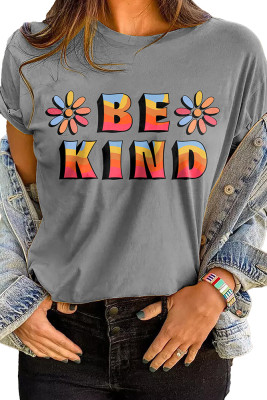 Gray BE KIND Printed Graphic Tee