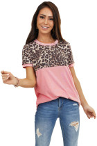 Pink Leopard Splicing O-neck Short Sleeves Top