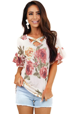 Floral Print Cross Neck Ruffle Sleeves Top