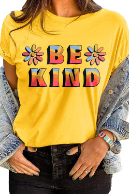 Yellow BE KIND Printed Graphic Tee
