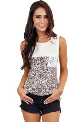 Leopard Lace Pocket Splicing Tank Top