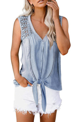 Blue Lace Hollow-out  Button Up Tie Tank Top