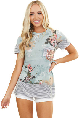 Floral Over Striped Top