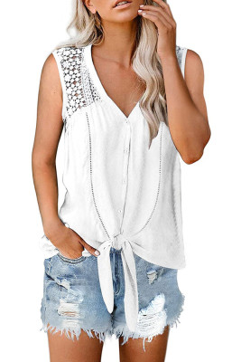 White Lace Hollow-out  Button Up Tie Tank Top