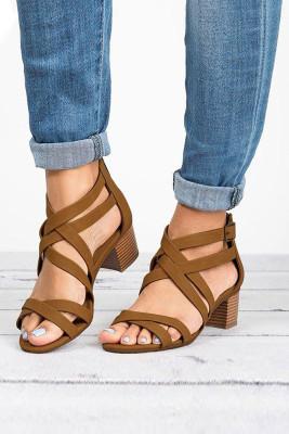 Brown Cross-tied Chunky Heel Sandals