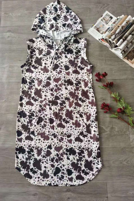 Cow Print Sleeveless Hooded Dress with Pockets