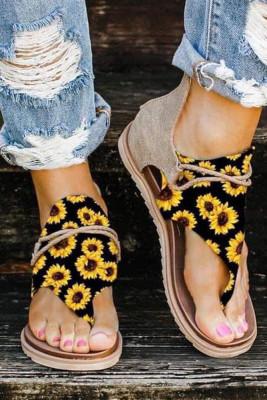Sunflower Print Zipper Flat Sandals