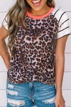 Leopard Striped Splicing Top