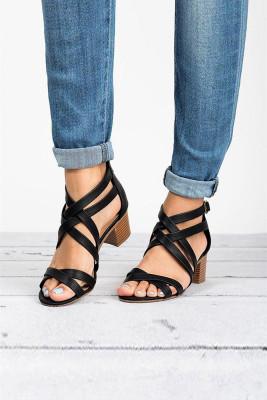 Black Cross-tied Chunky Heel Sandals