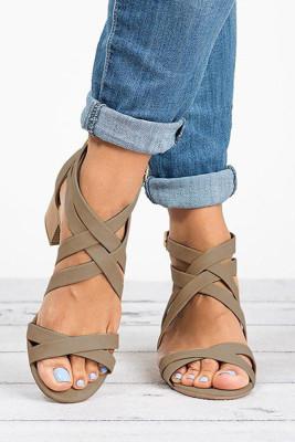 Beige Cross-tied Chunky Heel Sandals