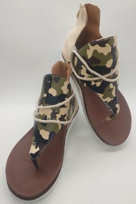 Camo Print Zipper Flat Sandals