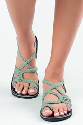 Green Cross-tied Flat Sandals