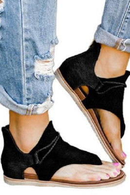 Black Zipper Flat Sandals