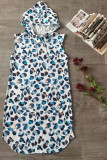 Blue Leopard Sleeveless Hooded Dress with Pockets