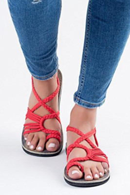 Red Cross-tied Flat Sandals
