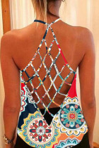 Floral Print Cross Back Hollow-out Tank Top