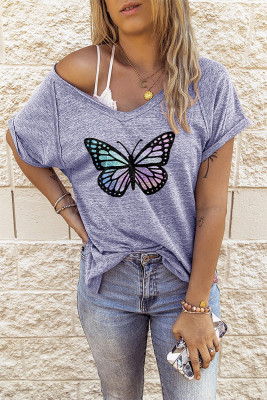 Loose V Neck Butterfly Printed Top