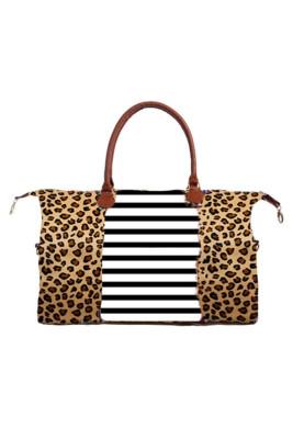 Leopard Camouflage Over Stripe Weekender Bag