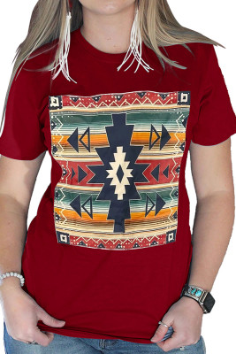 Striped Color Block Geometry Pattern Red Top