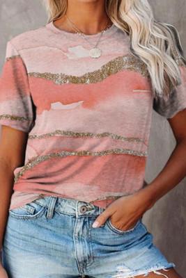 Pink Print O-neck Short Sleeves Top