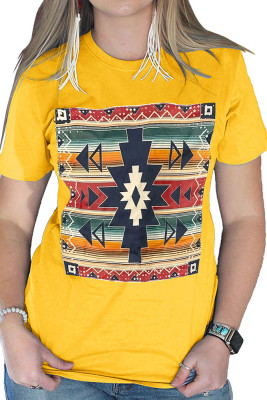 Striped Color Block Geometry Pattern Yellow Top