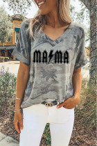 Camouflage MAMA Letter Printed Top