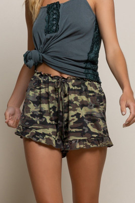 Camo Ruffled Trim Drawstring Shorts