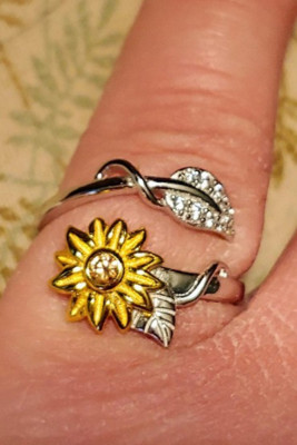 Sunflower Leaf You Are My Sunshine Engraved Diamond Ring