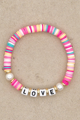 LOVE Letter Pearl Pink Colorful Soft Pottery Bracelet