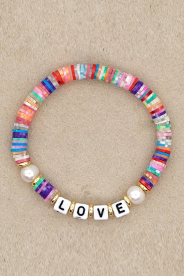 LOVE Letter Pearl Colorful Soft Pottery Bracelet