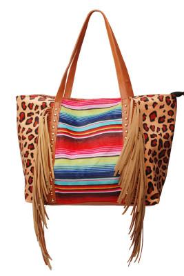 Colorful Striped Leopard Tassel Rivet Tote Bag