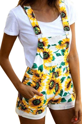 Sunflower Print Pockets Overall Shorts